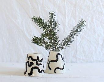 Squiggle Vase Painted Cone Vase Cute Bud Vase