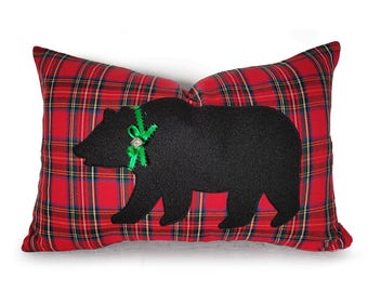 Christmas Bear Pillow, Bear Pillows, Bear Pillow Covers, Bear Lumbar Pillow, Bear Pillow with Bell, Rustic Christmas Decor, Red Plaid, 12x18