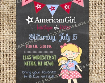American Girl Blonde Hair with Blue Eyes and Glasses*** Party PRINTABLE PERSONALIZED INVITATION***