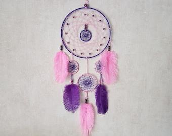 Dream catcher, handmade dreamcatcher, purple and pink, ostrich feathers, wall decor / actual 65 cm