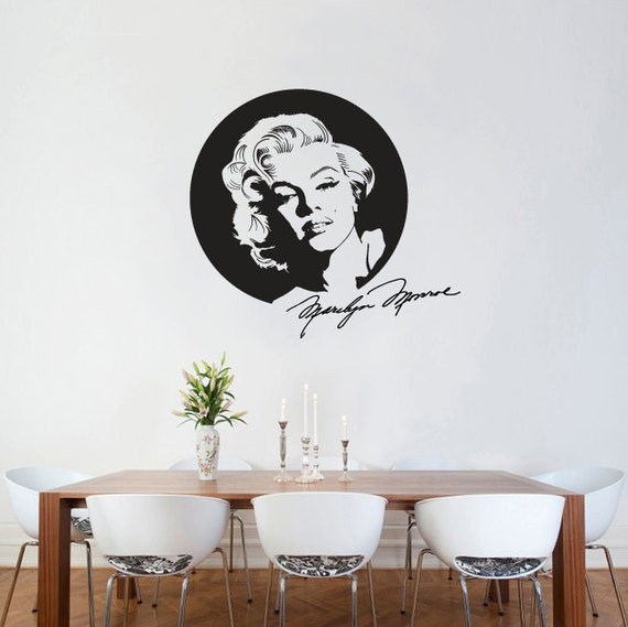 Etonnant Wall Decal Marilyn Monroe With Signature Wall Sticker Icon Silhouette Wall  Vinyl