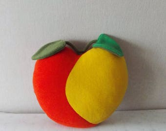 Decorative pillow, Pillow Fruit, Apple pillow, Red Apple pillow, food pillow, coworkers gift, orange and yellow pillow, gift under 30