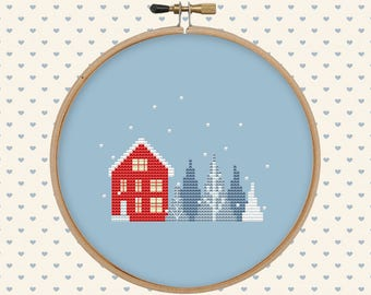 Christmas house cross stitch - easy cross stitch pattern - winter counted cross stitch - instant download - beginner cross stitch, xmas