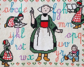 Completed Small Needlepoint, Vintage French Needlepoint Tapestry, Alphabet, writing.   L'écriture   (8524s)