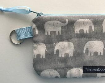 XX-Small Grey Elephant Zip Pouch