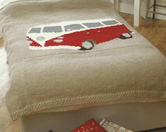 Pdf Camper van Double and Single Bed Spread Knitting Pattern.