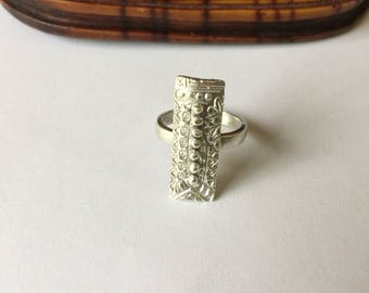 Sterling silver statement ring, big rectangle ring, boho style ring, Silver ring, OOAK ring