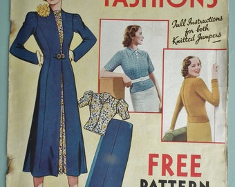 Vintage 30s Sewing Patterns Catalog Home Fashions 1937 30s dressmaking catalogue magazine knitting patterns
