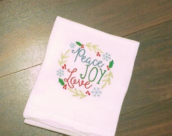 Peace Joy Love Christmas Tea Towel