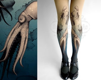 Closed Toe nude color one size Octopuses full length printed tights pantyhose