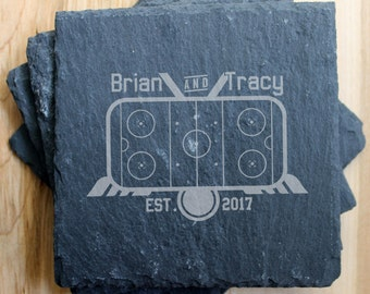 SET OF 4 Personalized Slate Coasters/Laser Engraved, slate coasters, personalized coasters, engraved hockey, hockey gift, hockey wedding