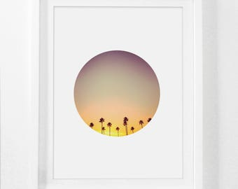 Palm Tree Art, California Palm Photo, Palm Tree Print, Palm Tree California, Circle California Wall Art, Palm Trees Wall Print, Sunset Art