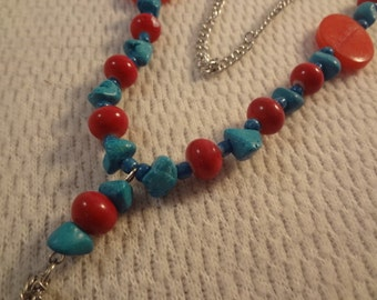 Red and Blue Turquoise Mix Adjustable Long Chain Necklace - F029