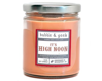 It's High Noon Scented Soy Candle Jar, leather, musk, cedar