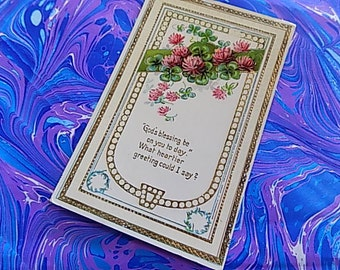 Antique Post Card - Gods Blessings - Floral