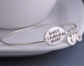 Nana Jewelry, Mother's Day Gift for Nana, Best Nana Ever Bracelet, Silver Custom Bangle Bracelet, Love, Georgie Jewelry