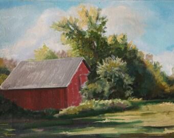 Unframed original art oil painting Barn Landscape