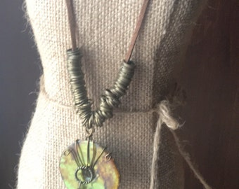 Alcohol Ink Dyed Washer Pendant on Suede Cord