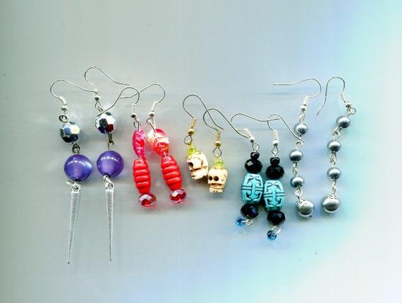 bead drop dangle earrings lot 5 pairs long dangles wholesale handmade jewelry lot red blue purple #lot12