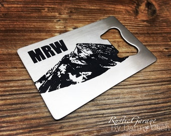 """Initials Monogram Crested Butte Colorado Customized Wallet Size Bottle Opener -""""credit card"""" size Beer Opener - Unique gift for a beer lover"""