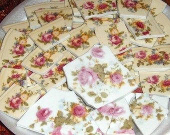 Broken china, Mosaic Supplies, Hand Cut, Mosaic Pieces, Jewelry Supplies, Roses,