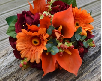 Wedding, bridal Posy Bouquet, deep red and orange