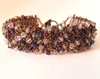 Handmade Crystal & Seed Bead Cuff Bracelet; The Perfect Gift for Sparkle Lovers! Rose Clasp, Pink and Purple Crystals