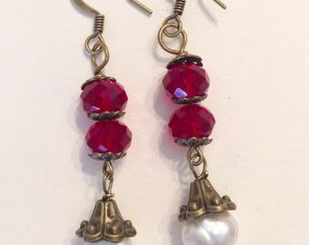 Downton Abbey Inspired Garnet and Fresh Water Pearl Earrings
