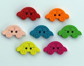 Car 16mm set of 10 wooden buttons: multicolor - 2273