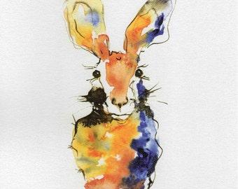 Hare Print, Watercolour, Wall Art