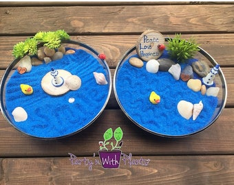 Mini Zen Garden, Ocean, Desk Accessory, DIY Zen Kit, Sand Therapy, Sand Art, Zen Gift, Coworker Gift, Zen Garden, Fairy Garden Kit