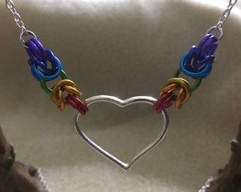 LGBT Byzantine Rainbow Heart Necklace