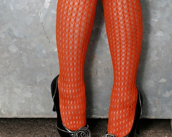 Vintage High Quality Orange Holes and Striped Nylon Stockings Tights Size 12