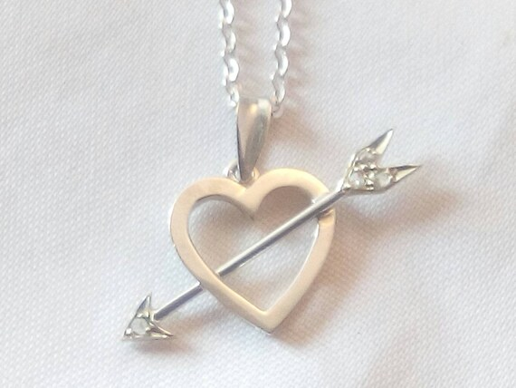 18k Solid White Gold  and Diamonds Heart with Arrow - Free 9k Gold Chain - Valentine Gift