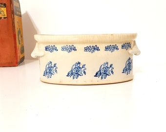 Old tea stained beige tureen Blue floral transferware French decor kitchen
