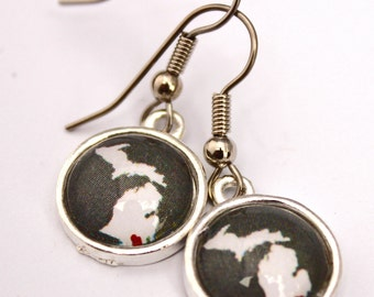 Detroit Michigan Love. Round dangle Earrings.