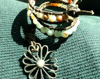 "amazonite, aventurine, and Jasper beaded leather 3 wrap bracelet, handmade, ""Flower Child"""