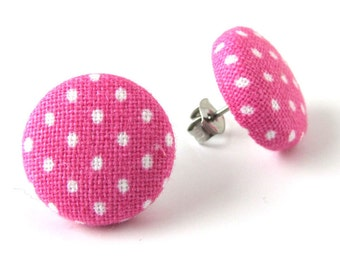 Bridesmaid gift - girlfriend gift - pink stud earrings - pink button earrings - pink fabric earrings - - polka dot studs - white polka dots