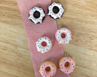 2 Donut Charms/ Frosted Donut Charms/ Pair Donuts/ Food Charms/ Fake Food/ Sprinkle Donuts/  PM150