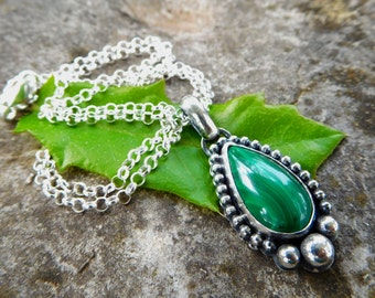 Malachite necklace | Sterling silver stone pendant | Artisan necklace | small stone necklace | teardrop stone necklace | silver metalwork