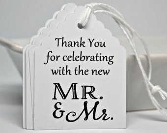 SAME SEX Wedding Tags - Mr and Mr Thank You Tags