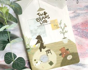 Notebook/two bears life/A5 size/illustration/lined paper notebook