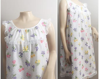 60s Floral House Dress // White Shift Dress Multicolored Flowers // Katz Shift Dress