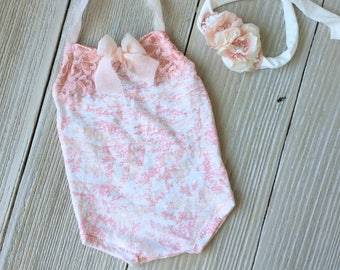 Pink Floral Newborn Romper Photo Prop SET with Stretch Headband- Newborn Baby Girl - Ready to Ship