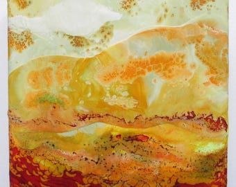 Abstract Encaustic painting, abstract art, landscape, fire in the sky