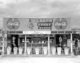 """1939 Fruit Stand, Robstown, Texas Vintage Photograph 8.5"""" x 11"""" Reprint"""