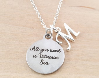 All You Need Is Vitamin Sea Charm - Personalized Necklace - Custom Initial Necklace - Silver Necklace -Initial Jewelry - Monogram Necklace