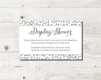 Display Shower Insert Card Display Shower Card insert bridal card insert bridal shower no gift wrap unwrapped gift card unwrapped shower