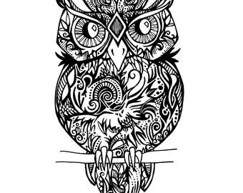 Downloadable Tribal Owl Print