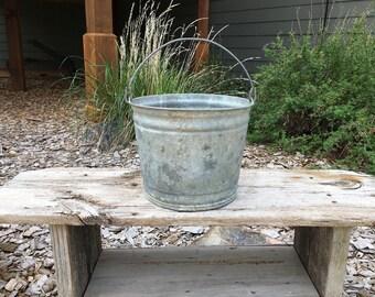 Metal Bucket - Vintage Galvanized Metal Pail - Rustic - Gardening Tools - Farmhouse - Vintage Bucket - Home Decor